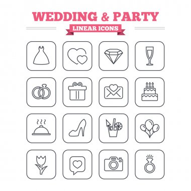 Wedding and party linear icons