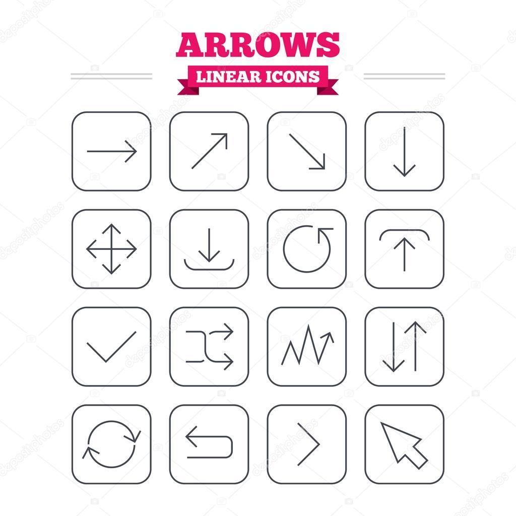 Arrows linear icons set.