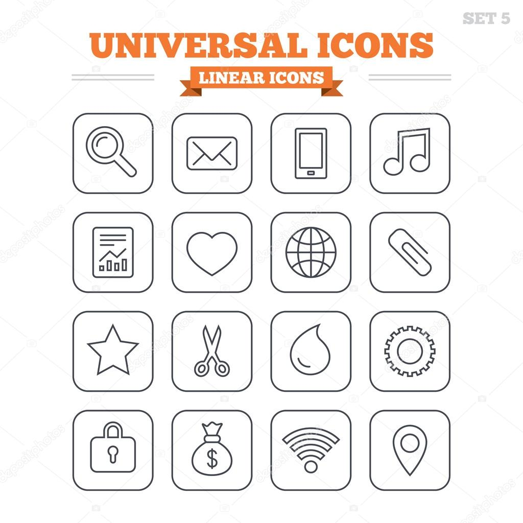 Universal linear icons set.