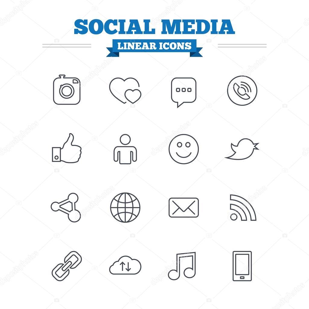 Social media linear icons