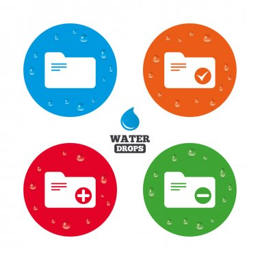 Water drops on button. Accounting binders icons. Add or remove document folder symbol. Bookkeeping management with checkbox. Realistic pure raindrops on circles. Vector clip art vector