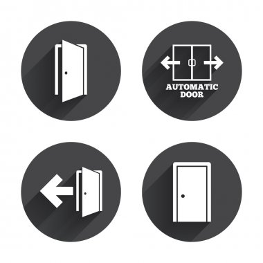 Emergency exit, doors icons set