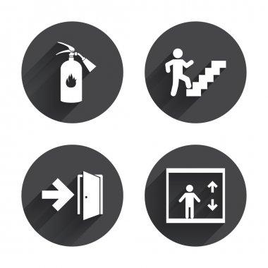 Emergency exit icons set