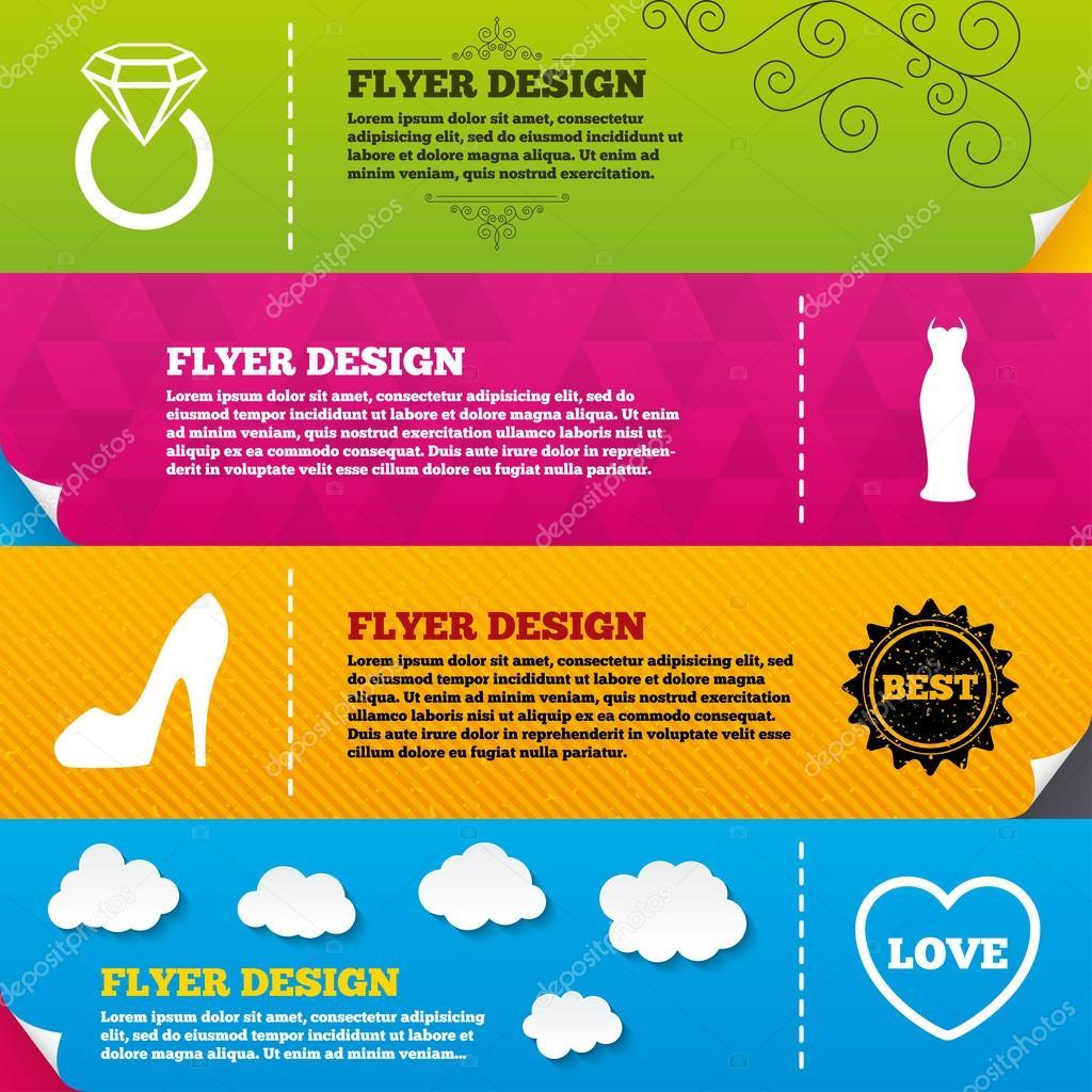 Flyer con vestido de boda, iconos de zapatos — Archivo Imágenes ...