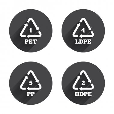 Recycling, PET, packaging icons set
