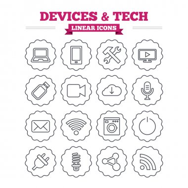 Devices and technologies icons set.