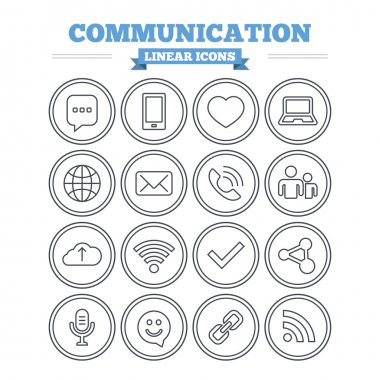 Communication, technology icons set