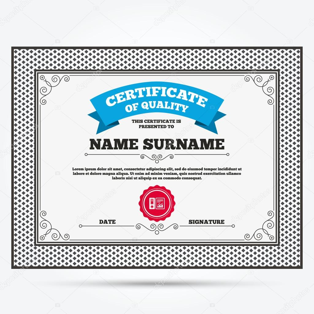 Certificate With Document Accounting Icon Stock Vector