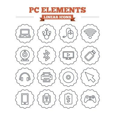 Computer elements icons set.