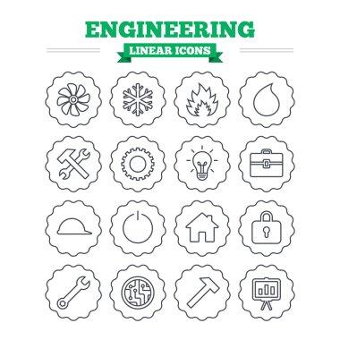 Engineering, repair linear icons set