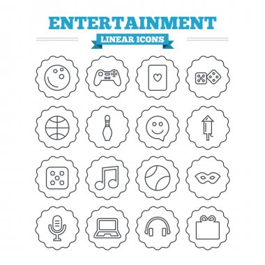 Entertainment linear icons set.