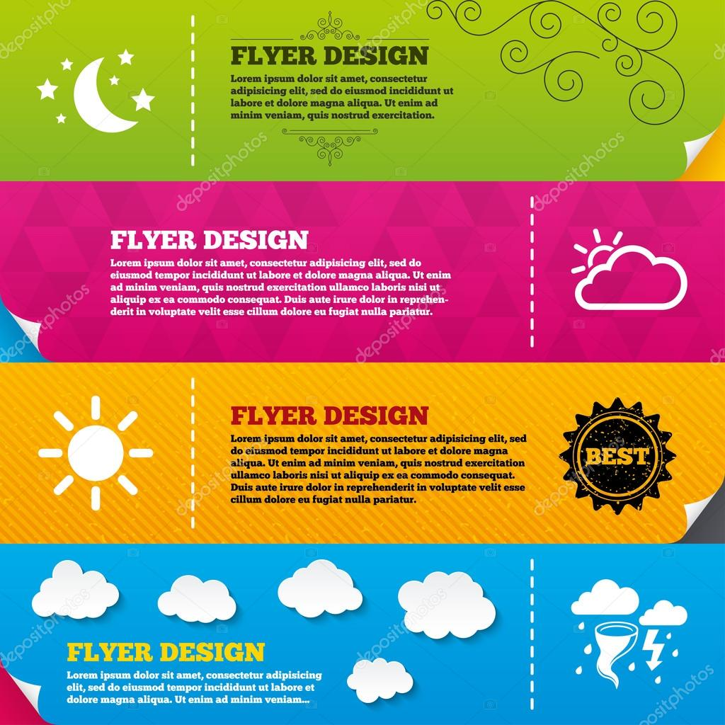 Flyer with, weather, nature icons