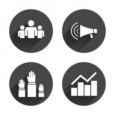 Strike, loudspeaker,  Election  icons