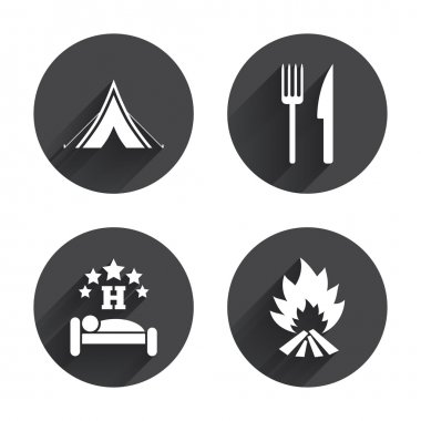 Food, sleep, camping tent, travel icons