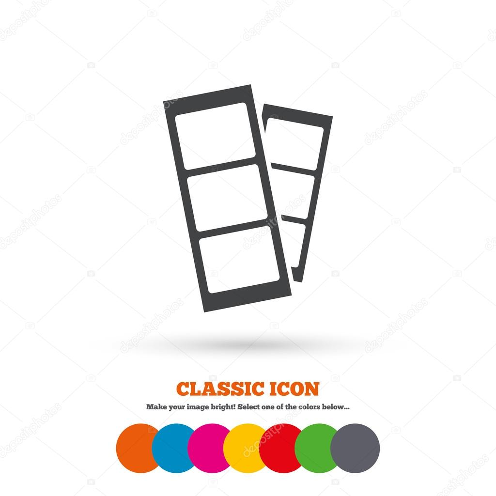 Photo Booth Strips Sign Icon Frame Template Symbol Classic Flat Colored Circles Vector By Blankstock
