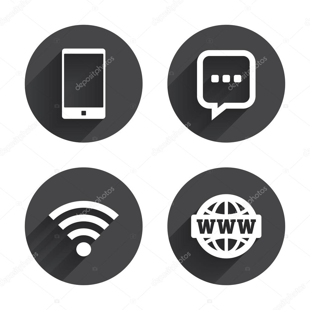 Smartphone and chat bubble communication icons stock vector communication icons smartphone and chat speech bubble symbols wifi and internet globe signs circles buttons with long flat shadow biocorpaavc Gallery