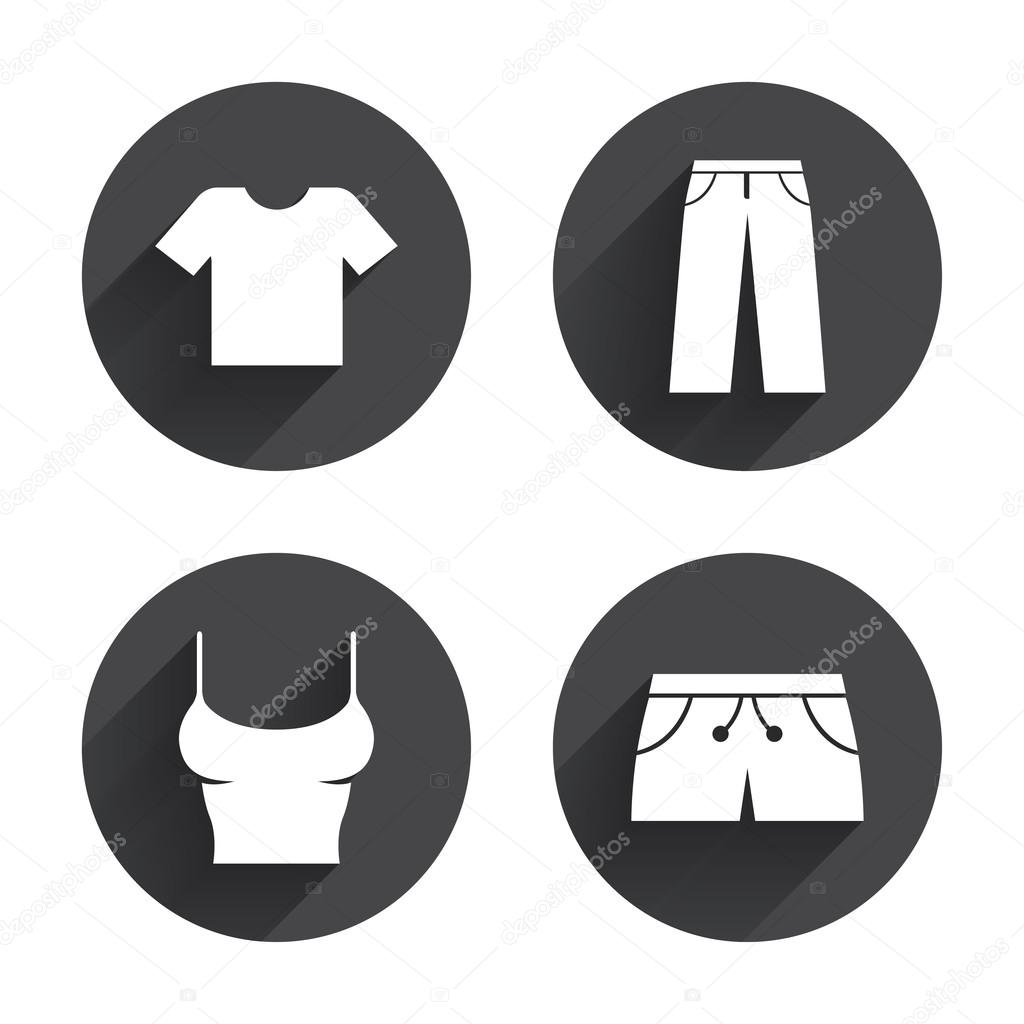 T-shirt and pants with shorts, clothing icons — Stock ... - photo#39