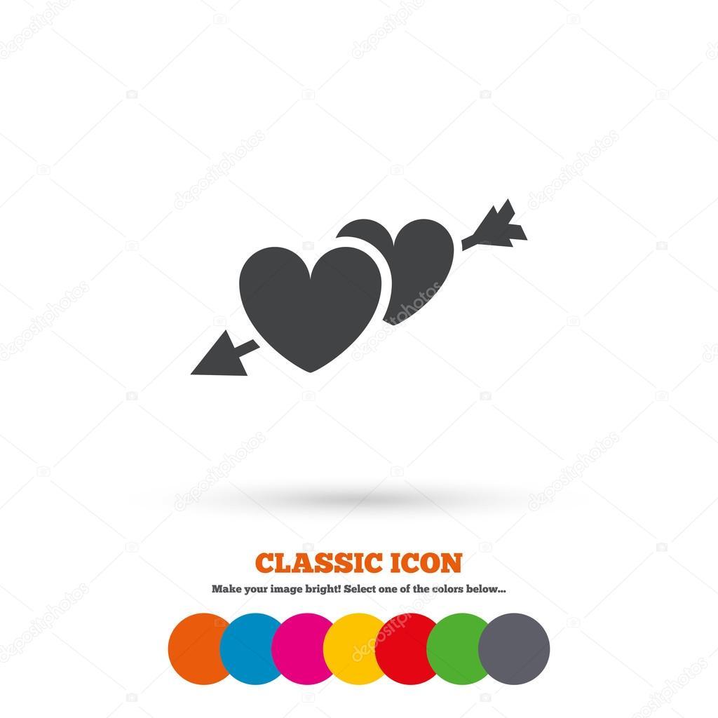 Hearts With Arrow Love Icon Stock Vector Blankstock 80515730
