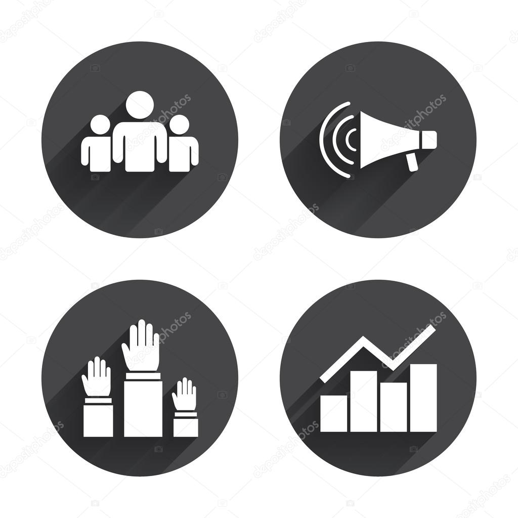 Strike, loudspeaker,  Election  icons