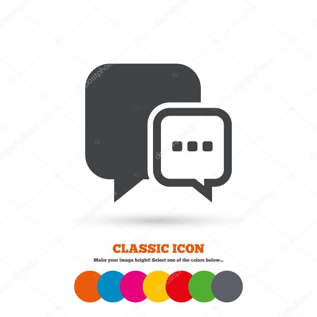 Chat sign icon speech bubble symbol stock vector blankstock speech bubble with three dots symbol communication chat bubble classic flat icon colored circles vector vector by blankstock biocorpaavc