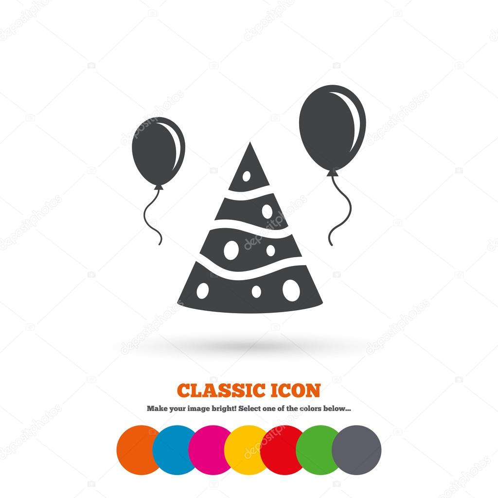 Party Hat Sign Icon Birthday Celebration Symbol Air Balloon With Rope Classic Flat Colored Circles