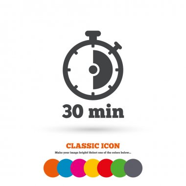 Timer, 30 minutes, stopwatch symbol.