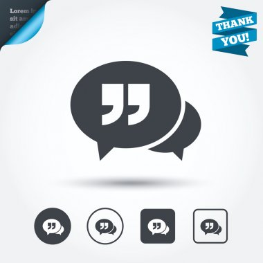Chat quote sign icons