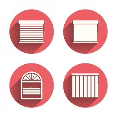 Louvers icons. Plisse, vertical and rolls.