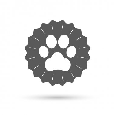 Dog paw sign icon.