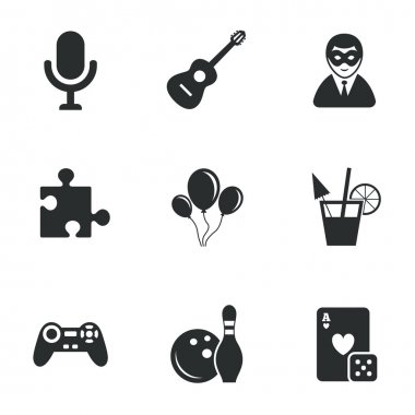 Game, bowling and puzzle icons.