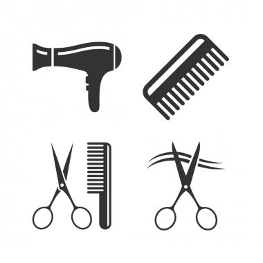Hairdresser icons. Scissors cut hair