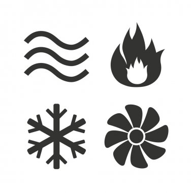 HVAC icons. Heating, ventilating and air conditioning symbols. Water supply. Climate control technology signs. Flat icons on white. Vector clip art vector