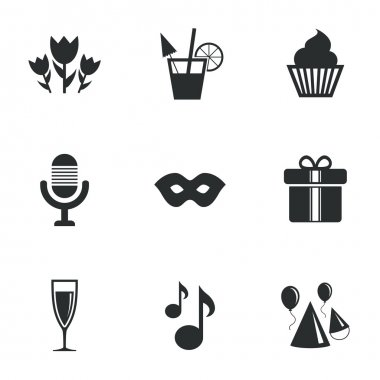 Party celebration, birthday icons. Cocktail.
