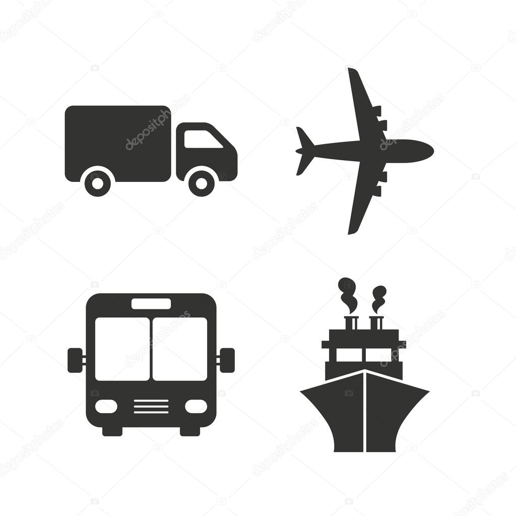 Transport icons. Truck, Airplane, Bus
