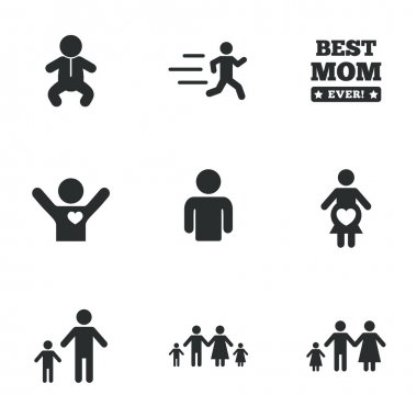 People, family icons. Maternity sign.