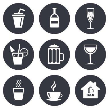 Coffee, tea icons. Alcohol drinks