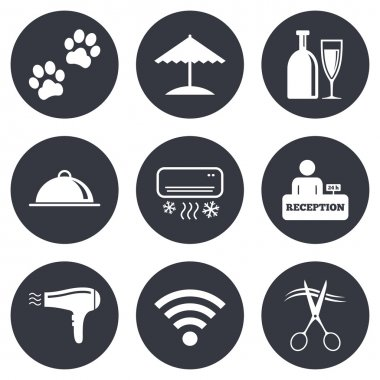 Hotel, apartment services icons.