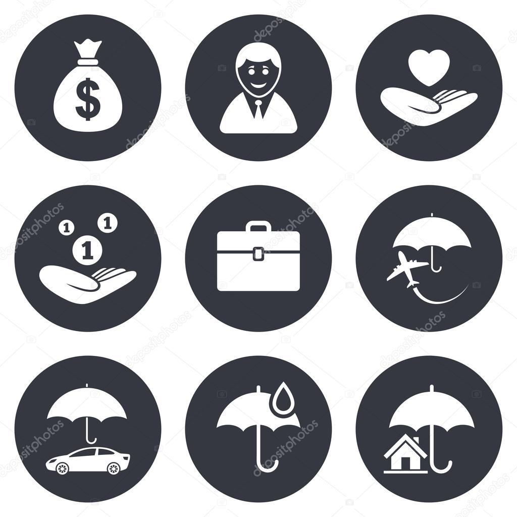 Insurance Icons Life Real Estate Stock Vector Blankstock 87342582