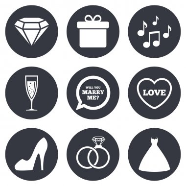 Wedding, engagement icons.
