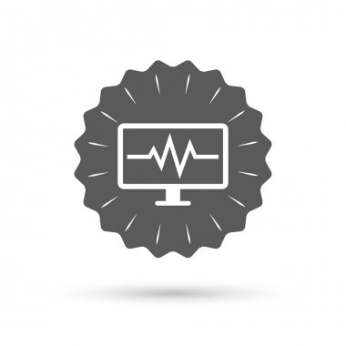 Vintage emblem medal. Cardiogram monitoring sign icon. Heart beats symbol. Classic flat icon. Vector stock vector