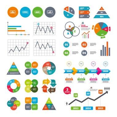 Business data pie charts graphs. Top-level internet domain icons. De, Com, Net and Nl symbols with hand pointer. Unique national DNS names. Market report presentation. Vector clip art vector