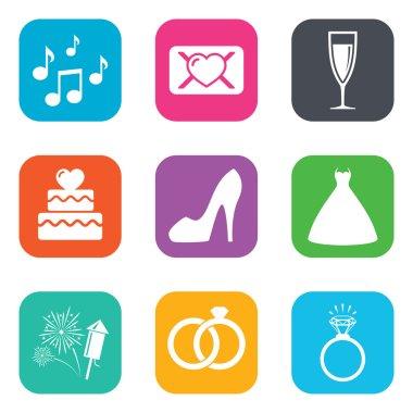 Wedding, engagement icons.