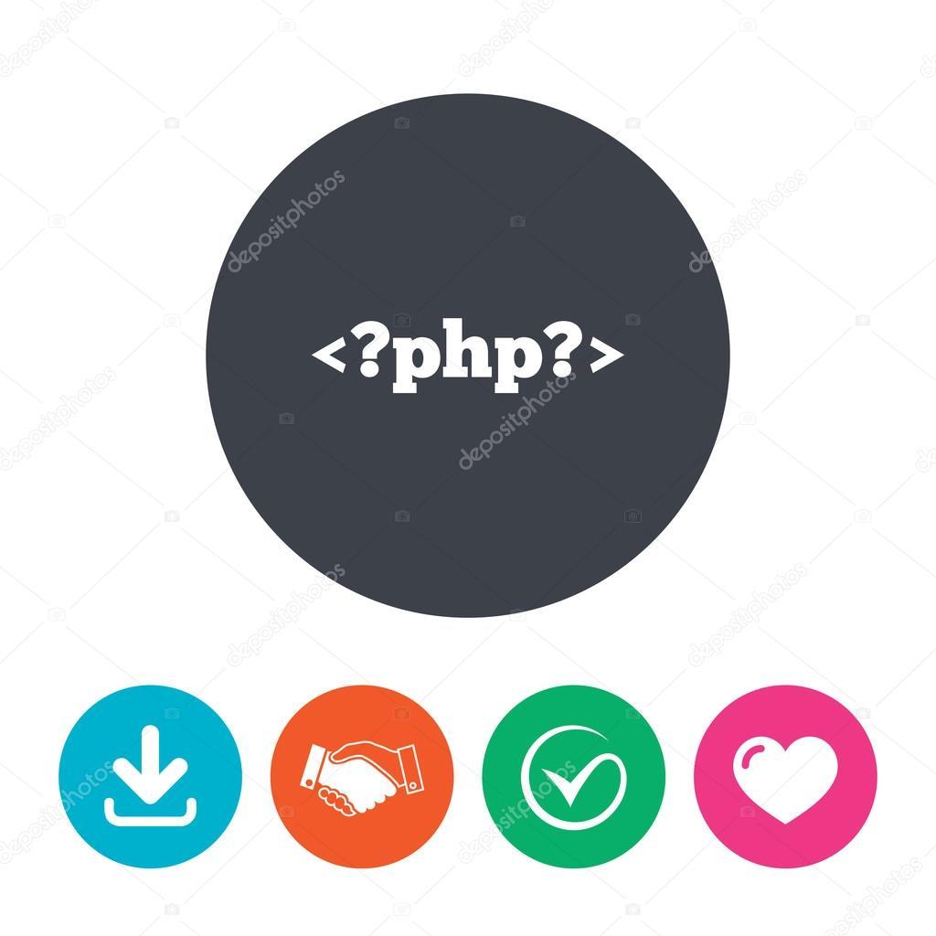 Cone de sinal de php smbolo de linguagem de programao vetores php sign icon programming language symbol download arrow handshake tick and heart flat circle buttons vetor de blankstock ccuart Choice Image