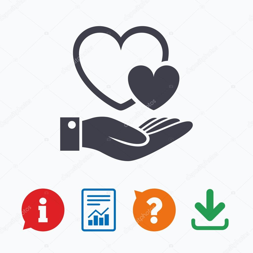 Hearts And Hand Sign Palm Holds Love Symbol Stock Vector