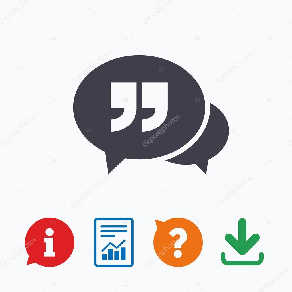 иконка чат цитата знак векторное изображение Blankstock