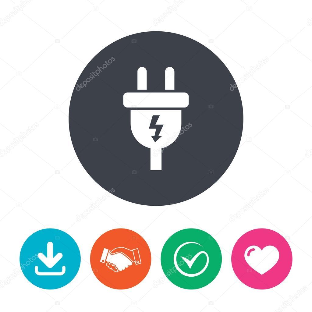 Elektrischer Stecker Zeichen Symbol — Stockvektor © Blankstock #91690430