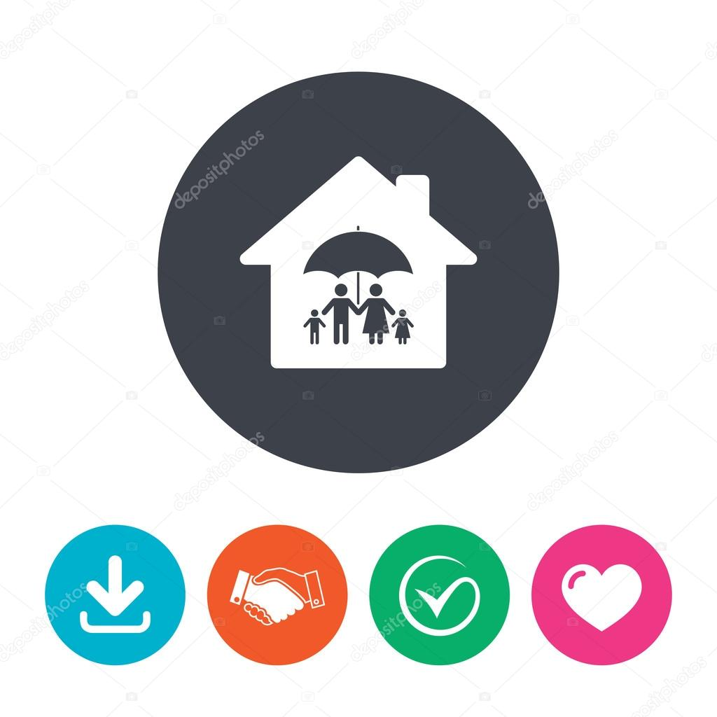 Complete family home insurance icon. — Stock Vector