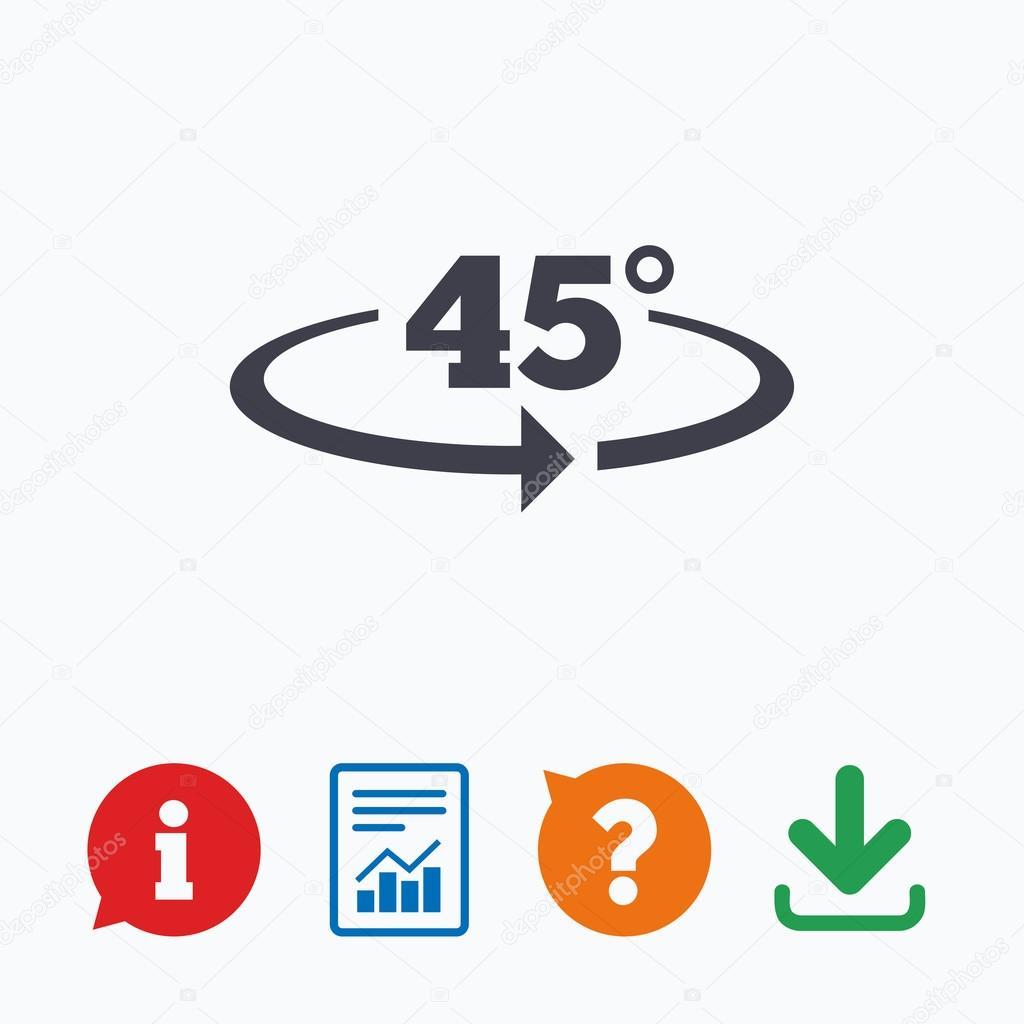 icône de signe de 45 degrés angle de rotation. symboles