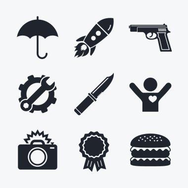 Gun weapon. Knife, umbrella and camera.