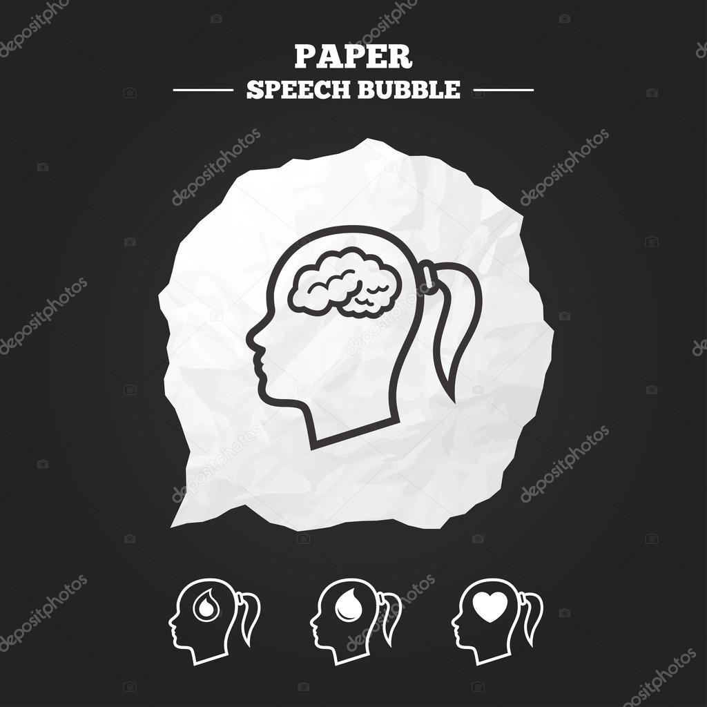 Head with brain icon stock vector blankstock 92446884 female woman think symbols blood drop donation signs love heart paper speech bubble with icon vector by blankstock biocorpaavc Gallery